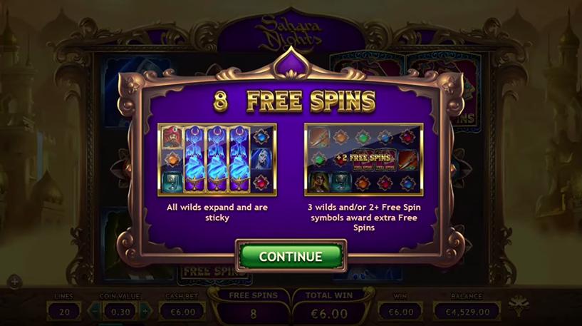Sahara Nights Slot Screenshot 2