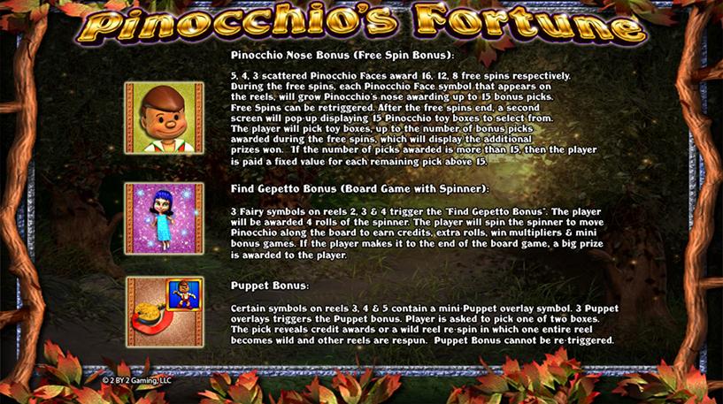Pinocchio's Fortune Slot Screenshot 2