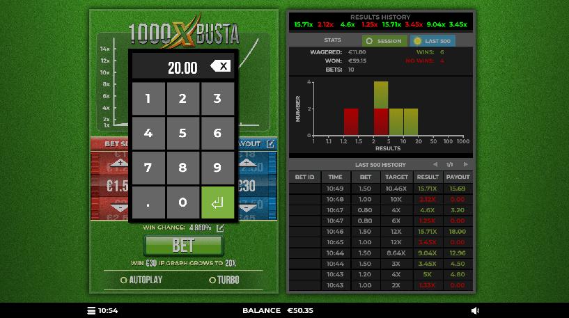 1000x Busta Casino game Screenshot 2