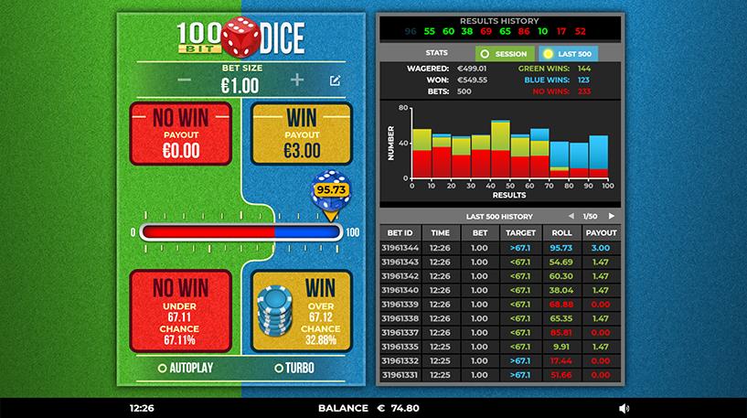 100 Bit Dice Game Screenshot 1