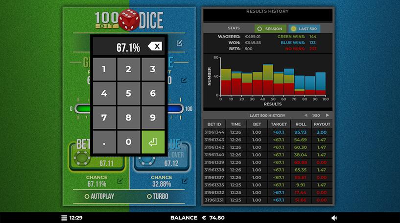 100 Bit Dice Game Screenshot 3