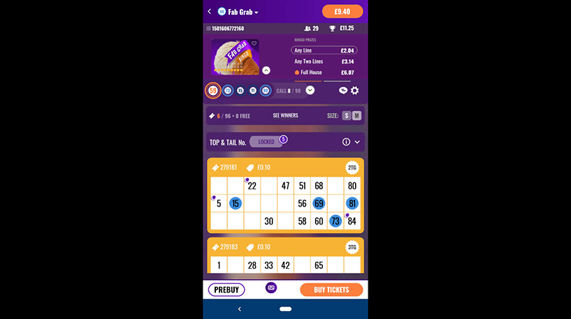 Fab Grab Bingo Screenshot 2