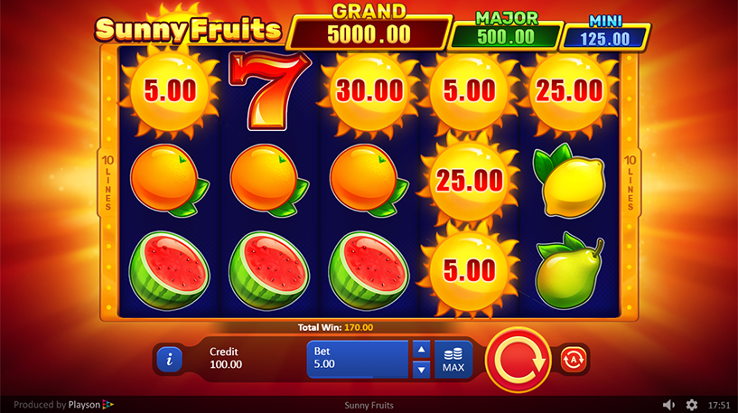 Sunny Fruits Hold and Win Slot Screenshot 1
