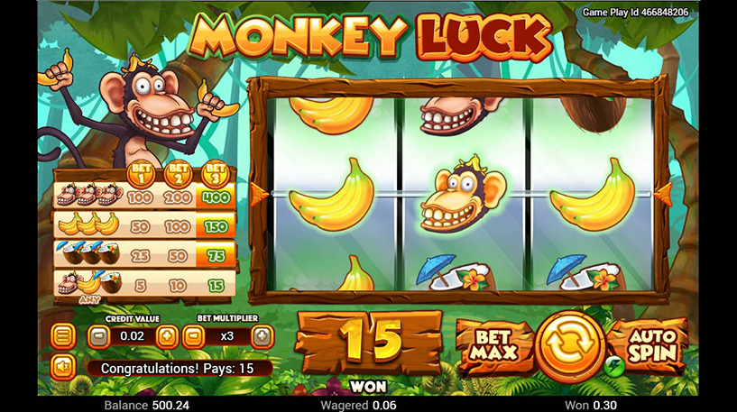 Monkey Luck Slot Screenshot 1