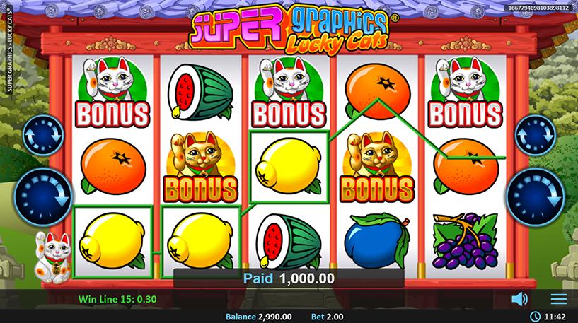 Super Graphics Lucky Cats Slot Screenshot 1