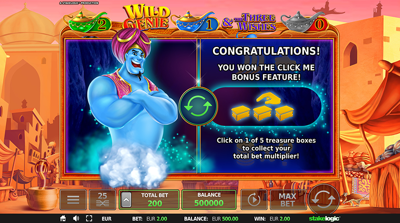 Wild Genie and the Three Wishes Slot Screenshot 2