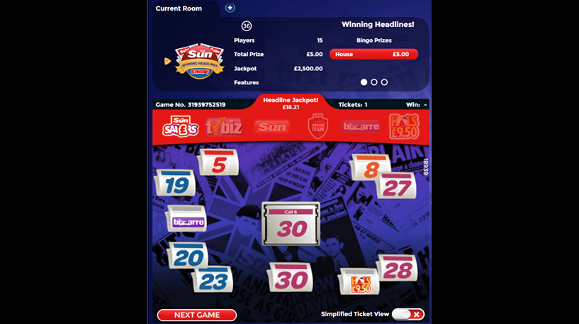 Winning Headlines 36-Ball Bingo Screenshot 1