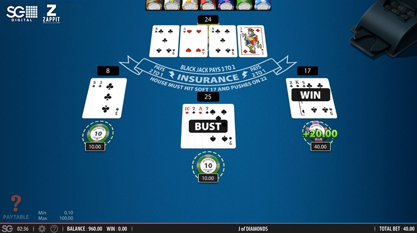 Zappit Blackjack Screenshot 2