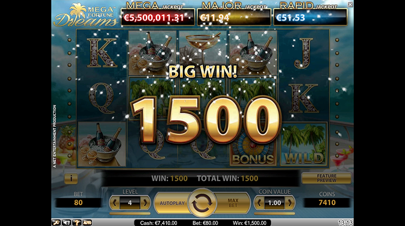 Mega Fortune Dreams Slot Screenshot 2
