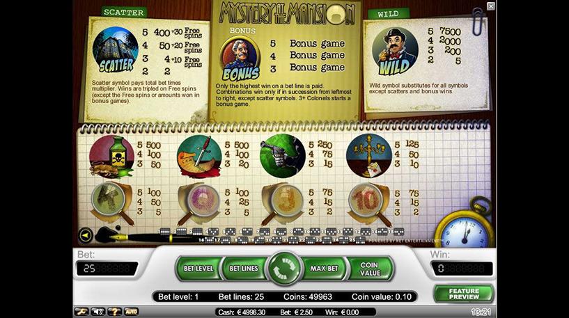 Mystery at the Mansion Slot Screenshot 3