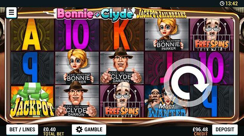 Bonnie and Clyde: Jackpot Jailbreaks Slot Screenshot 1